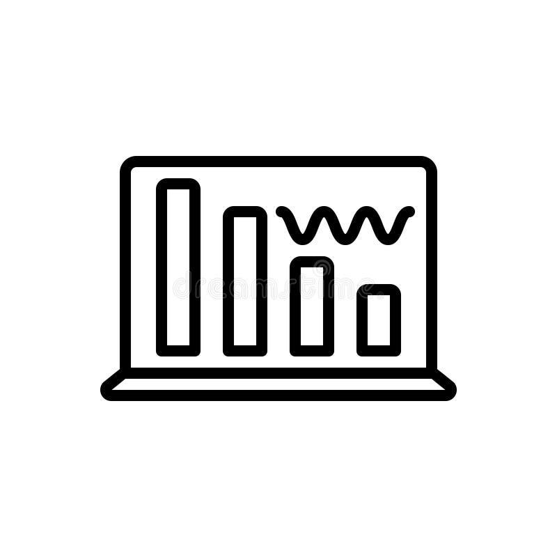 Ligne noire icône pour la vague, l'interface et la radio de données illustration stock
