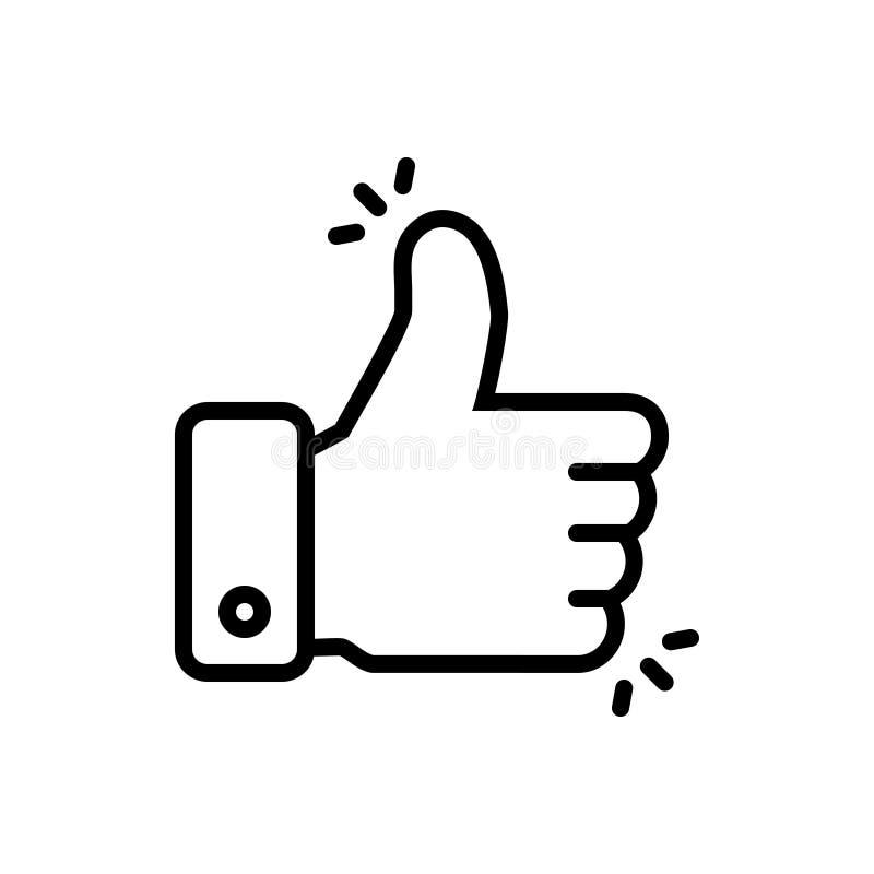 Ligne noire icône pour le bouton similaire, se conformant et bonne illustration de vecteur