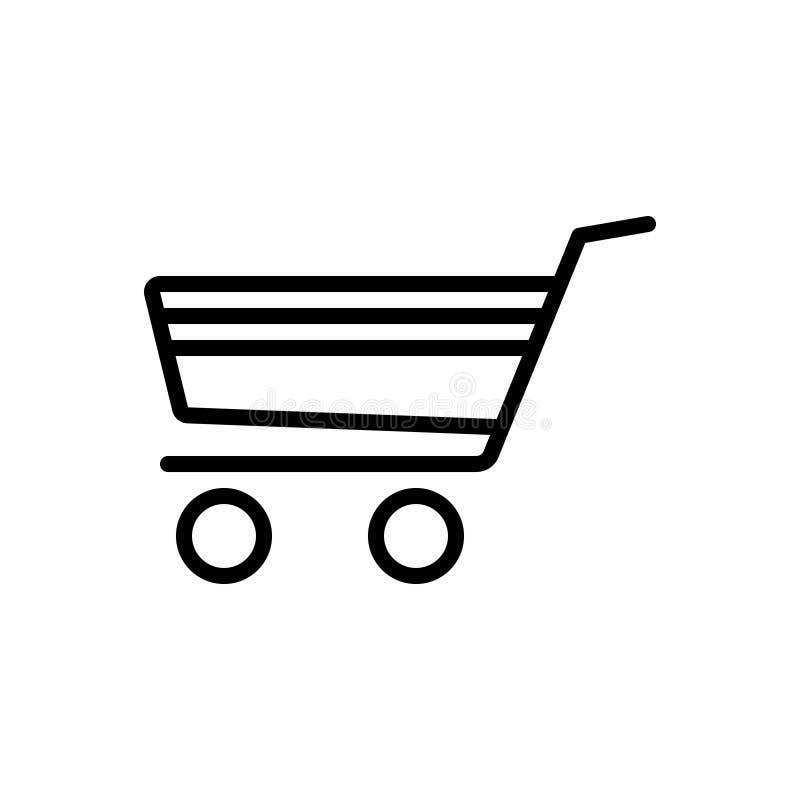 Ligne noire icône pour le caddie, le commerce et l'achat illustration de vecteur