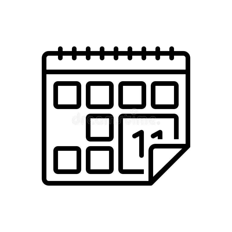 Ligne noire icône pour le calendrier, l'almanach et la chronologie illustration stock