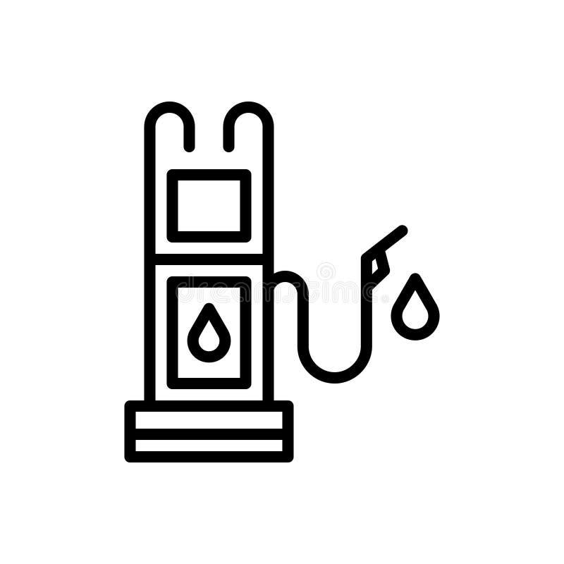 Ligne noire icône pour le carburant, le diesel, l'essence et la pompe illustration de vecteur