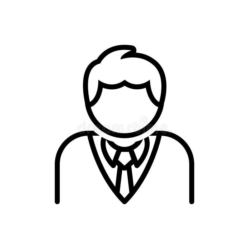 Ligne noire icône pour le client, le demandeur et l'acheteur illustration stock