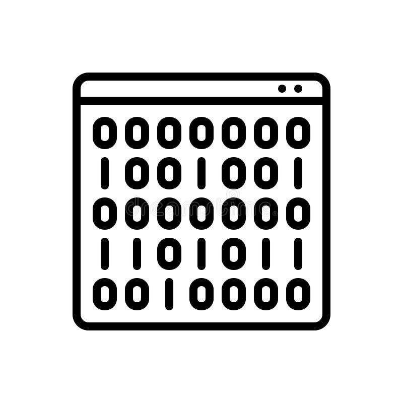 Ligne noire icône pour le code binaire, les données et la matrice illustration stock