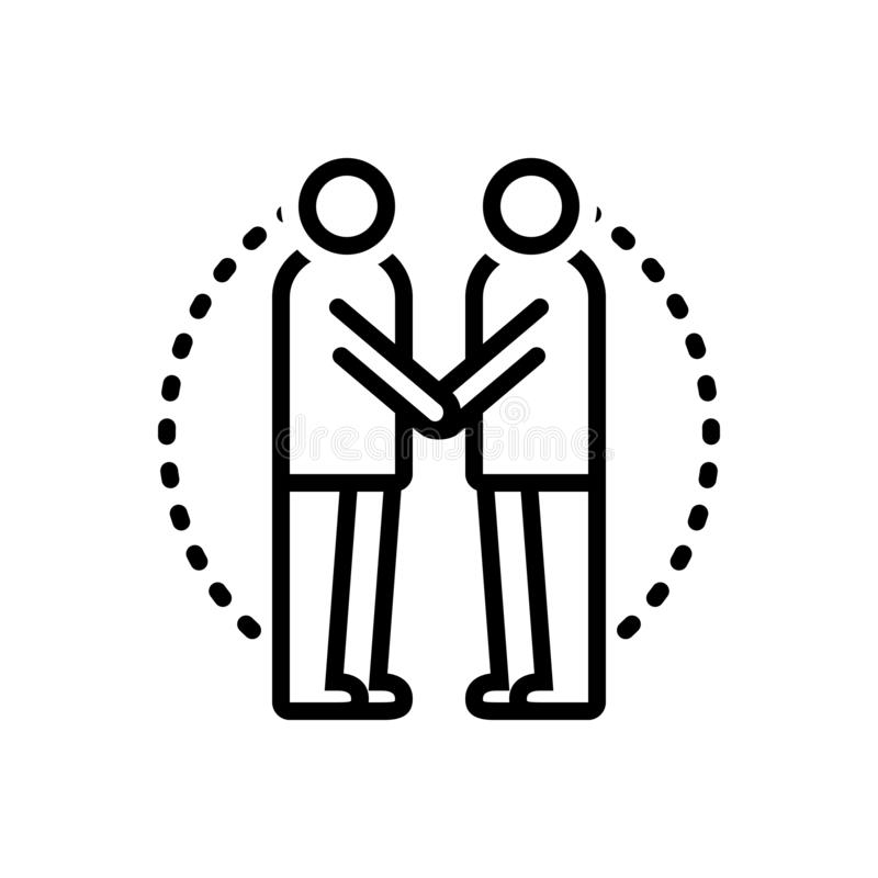 Ligne noire icône pour le consentement, acceptation et adopté illustration libre de droits