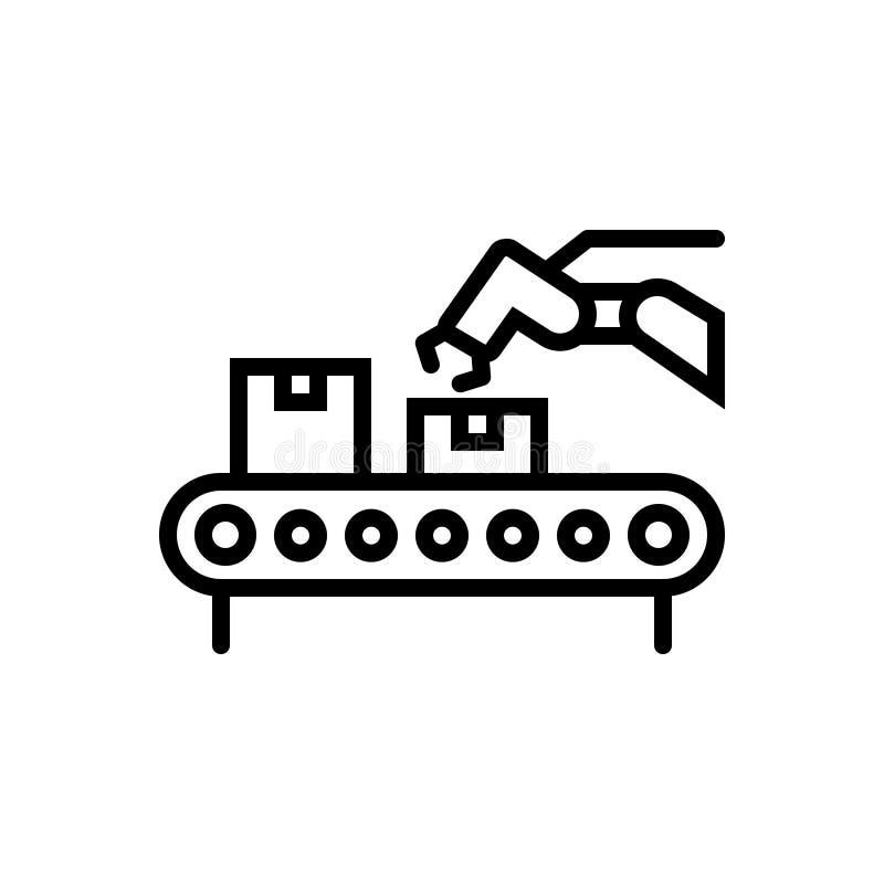 Ligne noire icône pour le convoyeur, la logistique et l'empaquetage illustration libre de droits