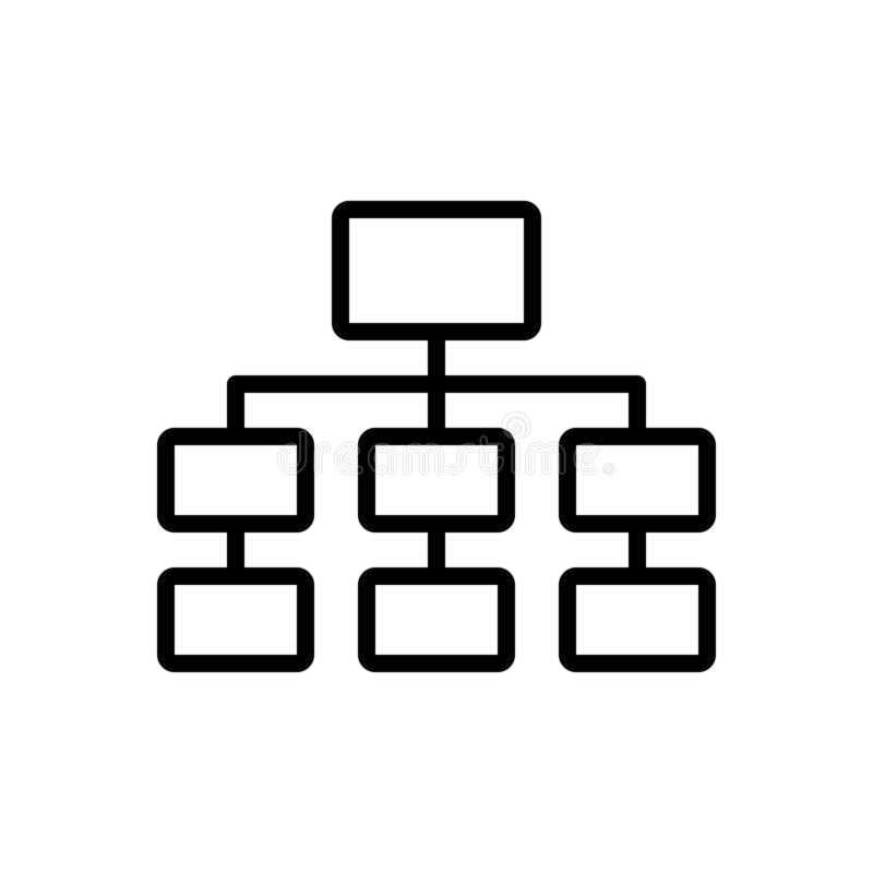 Ligne noire icône pour le diagramme, le modèle et la hiérarchie illustration libre de droits