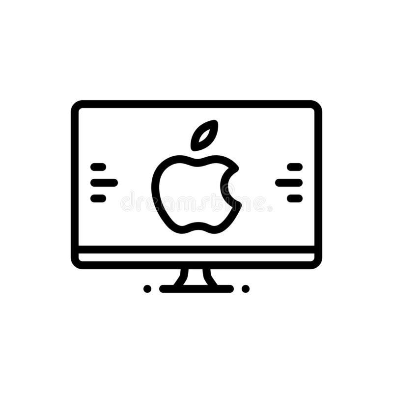 Ligne noire icône pour le Mac, le moniteur et l'écran illustration stock