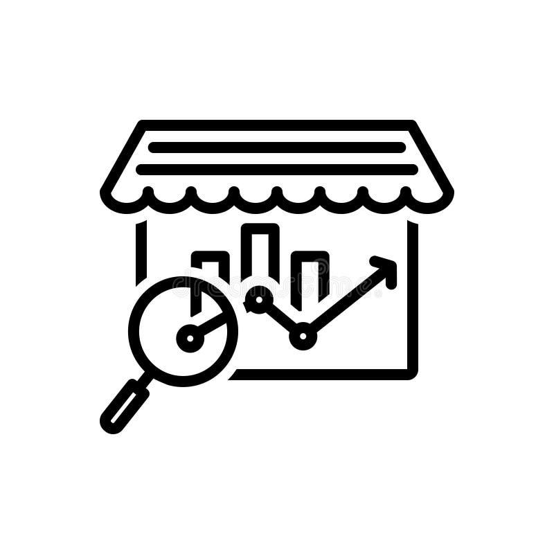 Ligne noire icône pour le marché, l'analyse et le bazar illustration libre de droits