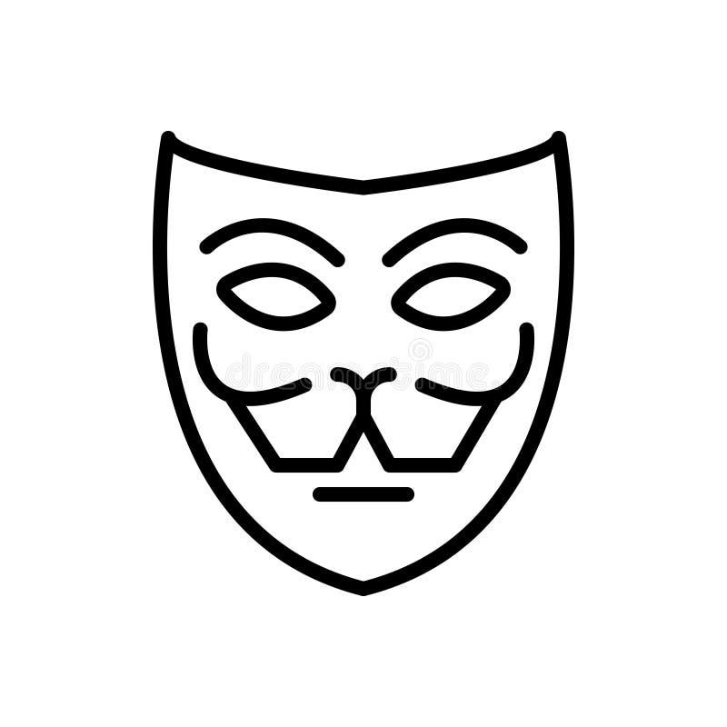 Ligne noire icône pour le masque, la façade et le drame illustration stock