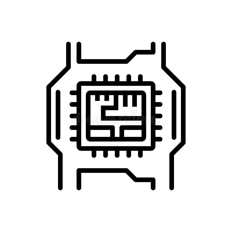 Ligne noire icône pour le matériel informatique, électronique et la technologie illustration de vecteur