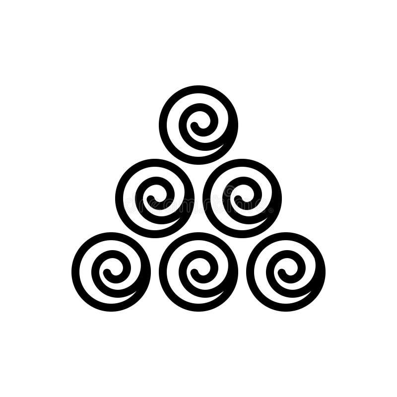 Ligne noire icône pour le matériel, la substance et les marchandises illustration stock