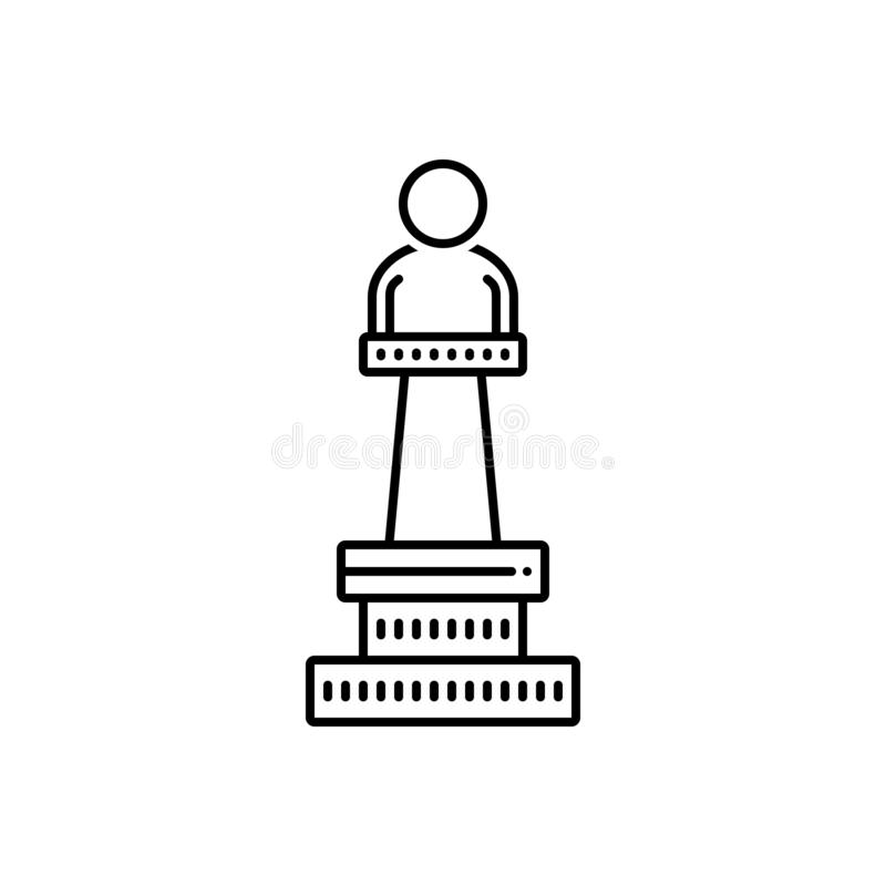 Ligne noire icône pour le monument, l'affichage et le musée illustration de vecteur