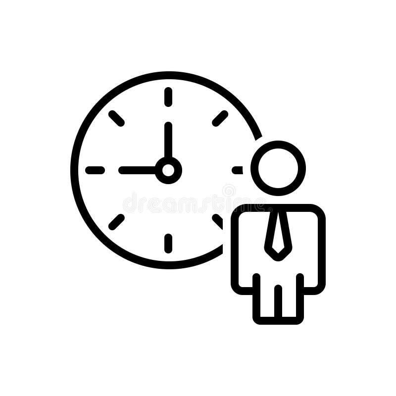 Ligne noire icône pour le programme, l'horaire et le rôle personnels illustration libre de droits