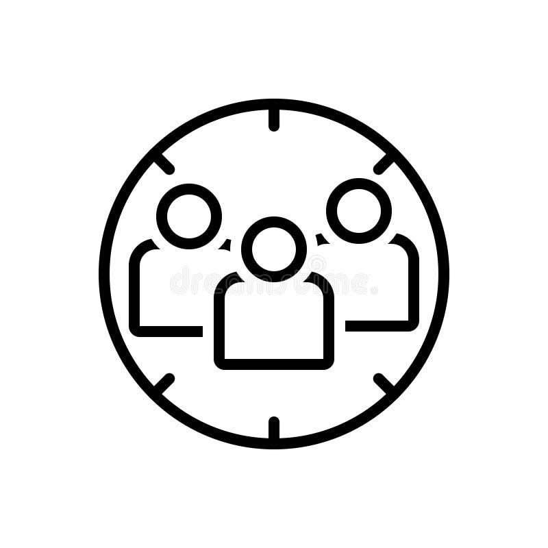Ligne noire icône pour le public cible, le foyer et le client illustration libre de droits