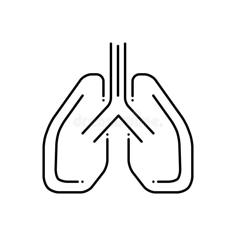 Ligne noire icône pour le Pulmonology, les poumons et médical illustration de vecteur