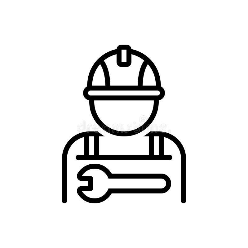 Ligne noire icône pour le travailleur, l'employé et le practician illustration stock
