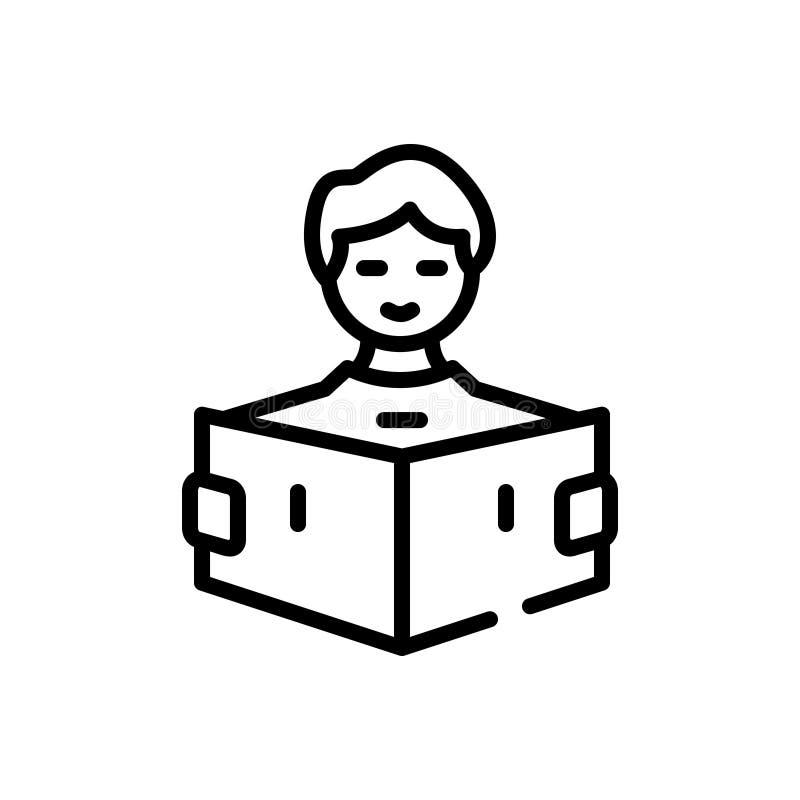 Ligne noire icône pour Learn, lire et étudier illustration stock