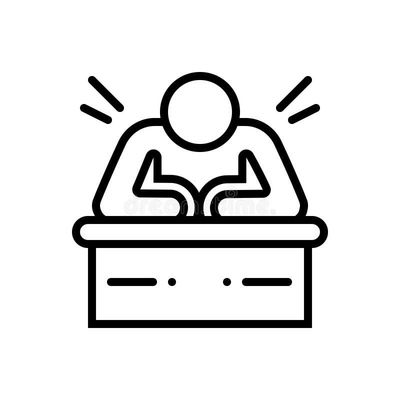 Ligne noire icône pour lent, paresseux et paresseux illustration libre de droits