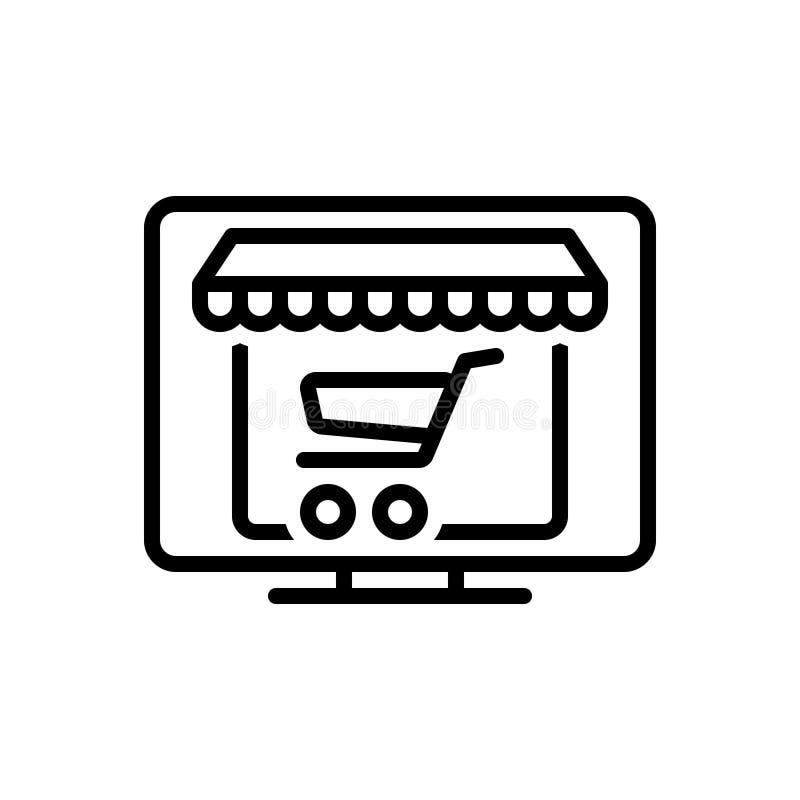 Ligne noire icône pour les achats en ligne, l'Internet et la vente au détail illustration libre de droits