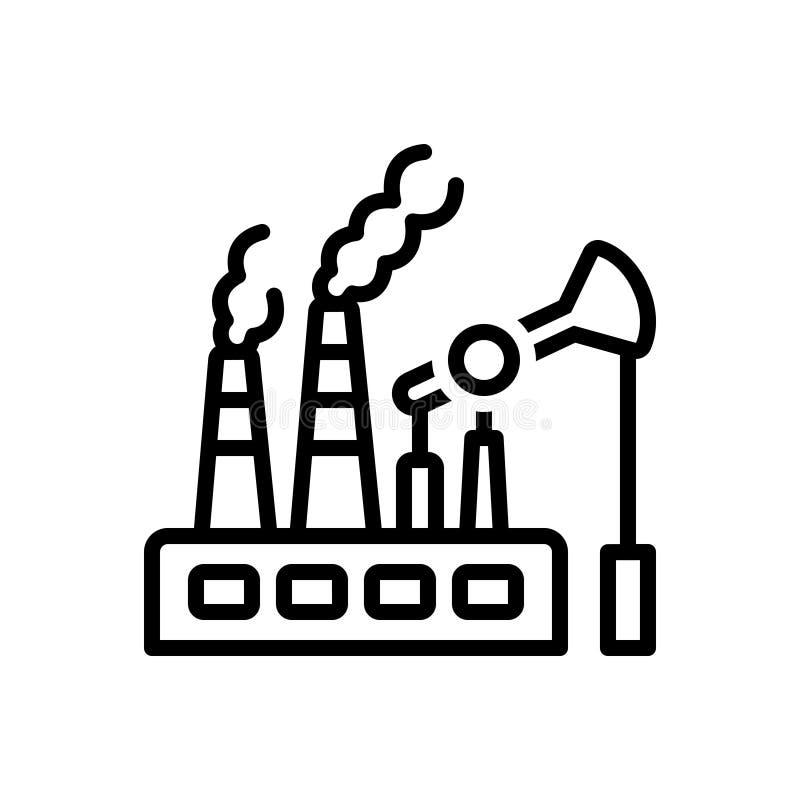 Ligne noire icône pour les combustibles fossiles, le carburant et la pompe illustration libre de droits