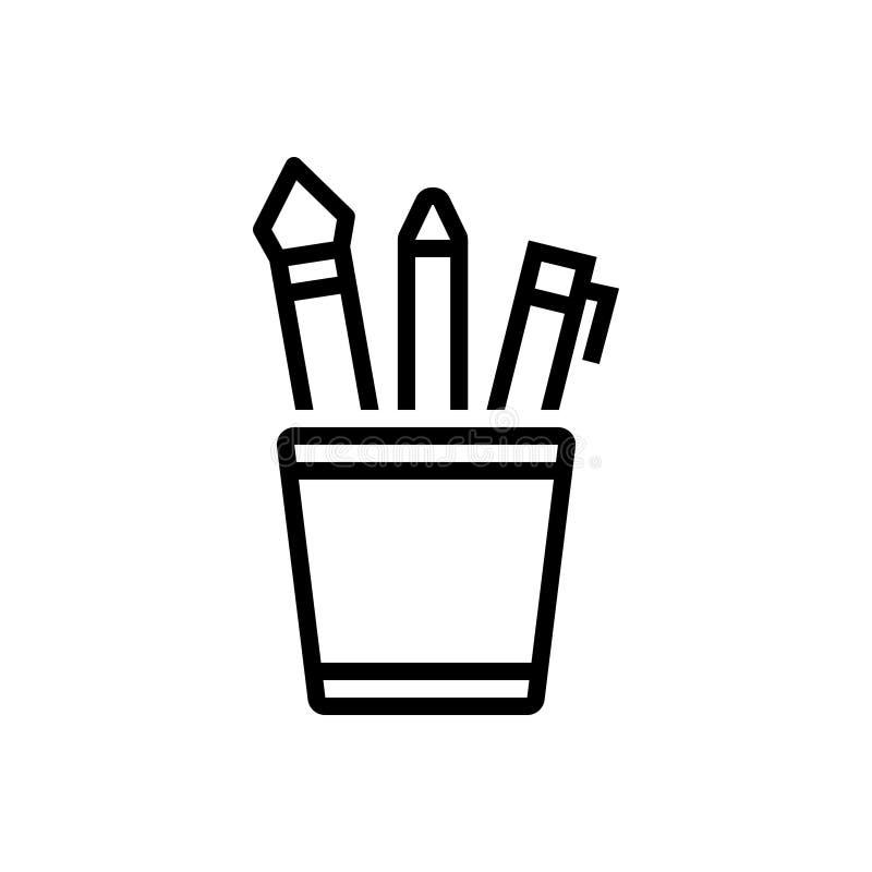 Ligne noire icône pour les fournitures de bureau, l'assortiment et l'outil illustration de vecteur