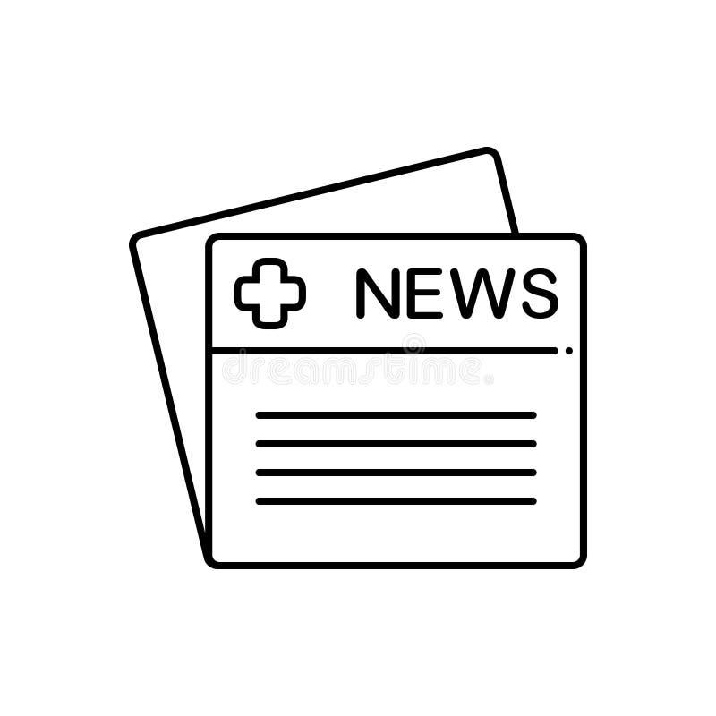 Ligne noire icône pour les nouvelles, la publication et les multimédia médicaux illustration de vecteur