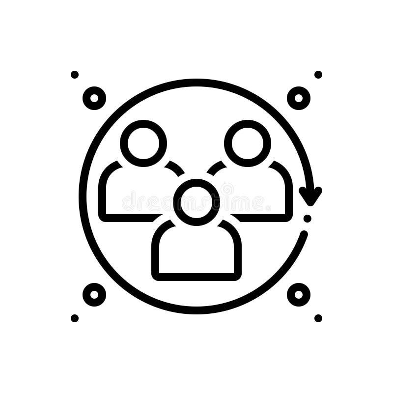 Ligne noire icône pour les sciences humaines, l'humanité et la course illustration libre de droits