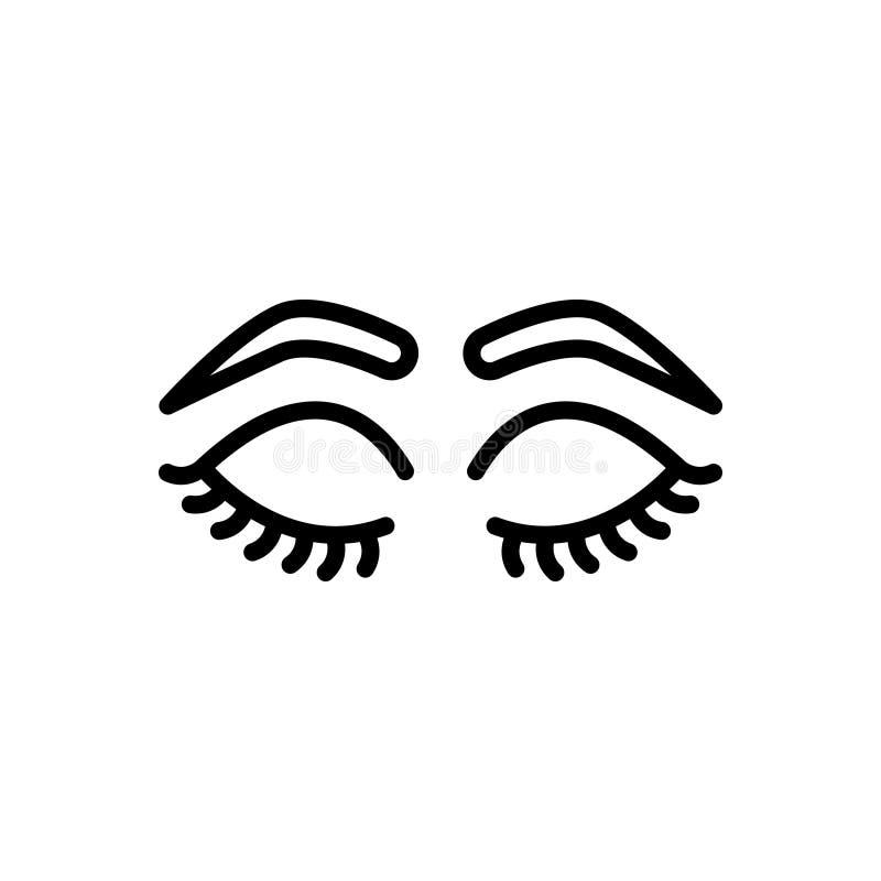 Ligne noire icône pour les yeux fermés avec des mèches et des fronts, charme et fermé illustration stock