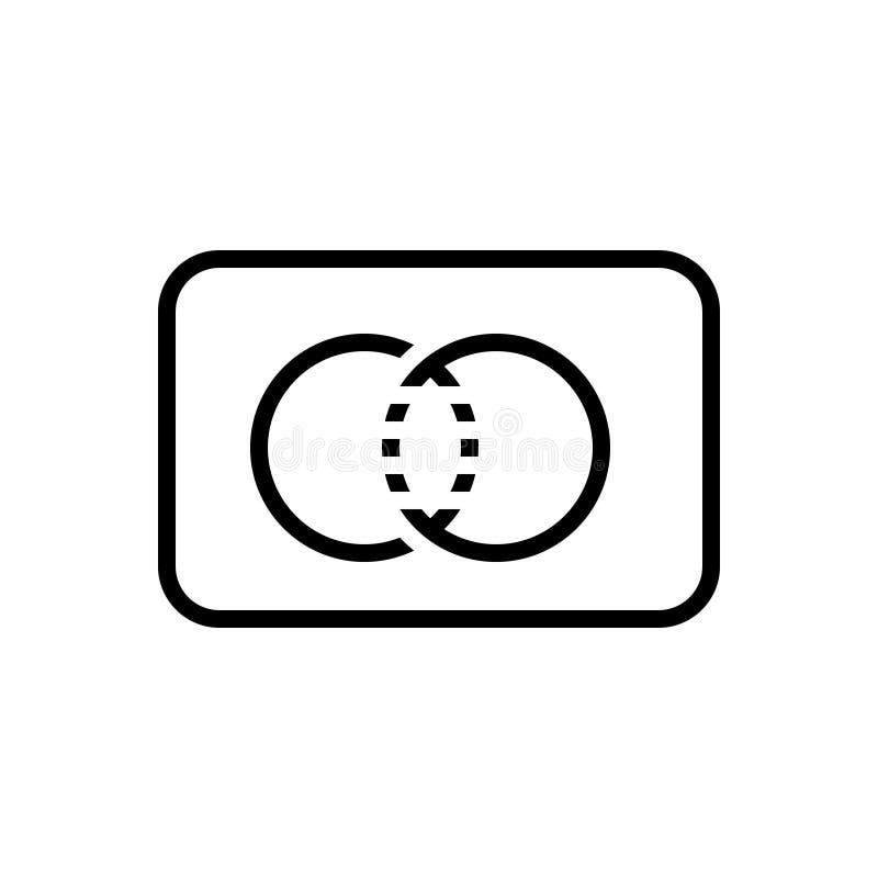 Ligne noire icône pour MasterCard, carte de paiement et carte illustration libre de droits