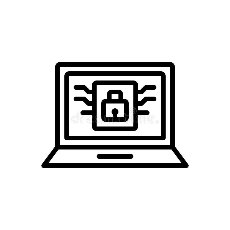 Ligne noire icône pour personnel, privé et le moniteur illustration stock