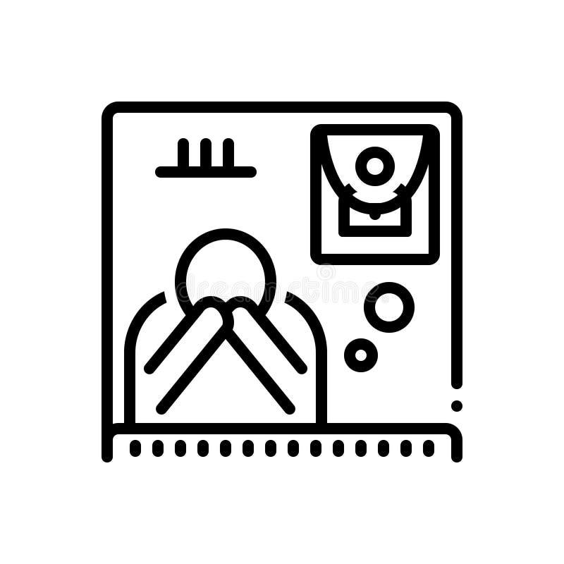 Ligne noire icône pour privé, enterrement et exequies illustration de vecteur