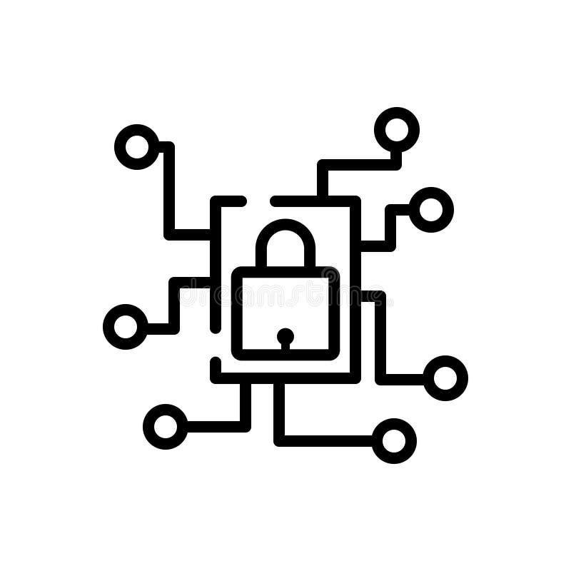 Ligne noire icône pour privé, le réseau et la technologie illustration stock