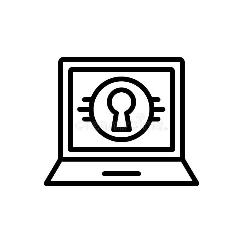Ligne noire icône pour privé, personnel et le moniteur illustration stock
