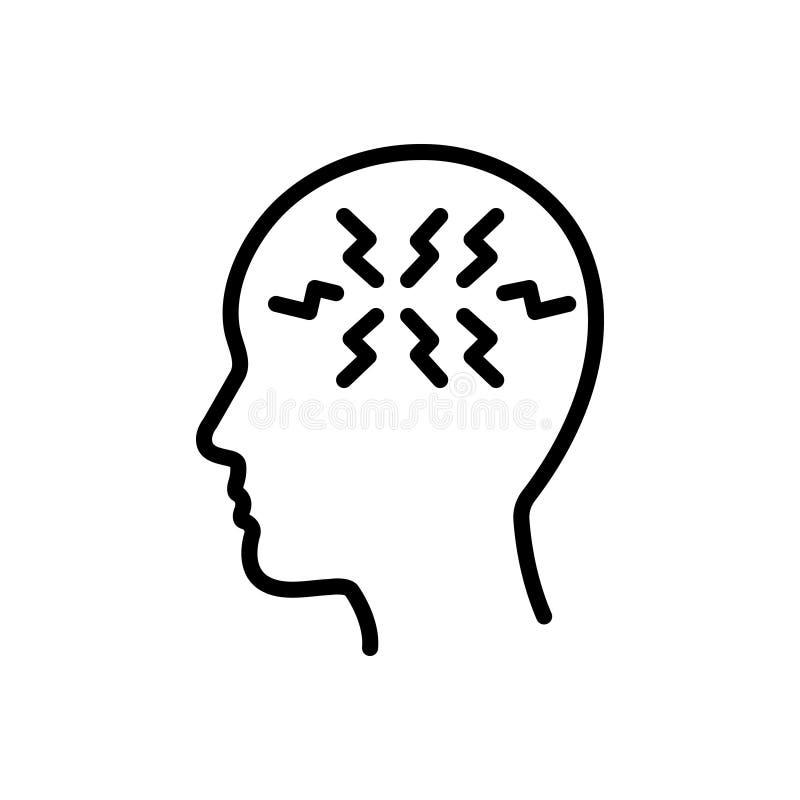 Ligne noire icône pour Ptsd, courrier traumatique et effort illustration libre de droits