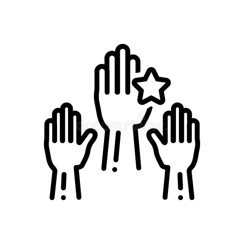 Ligne noire icône pour responsable, sensible et exposé illustration libre de droits