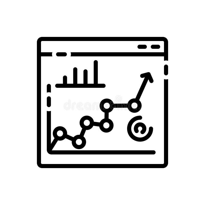 Ligne noire icône pour Seo, représentation et planification illustration libre de droits
