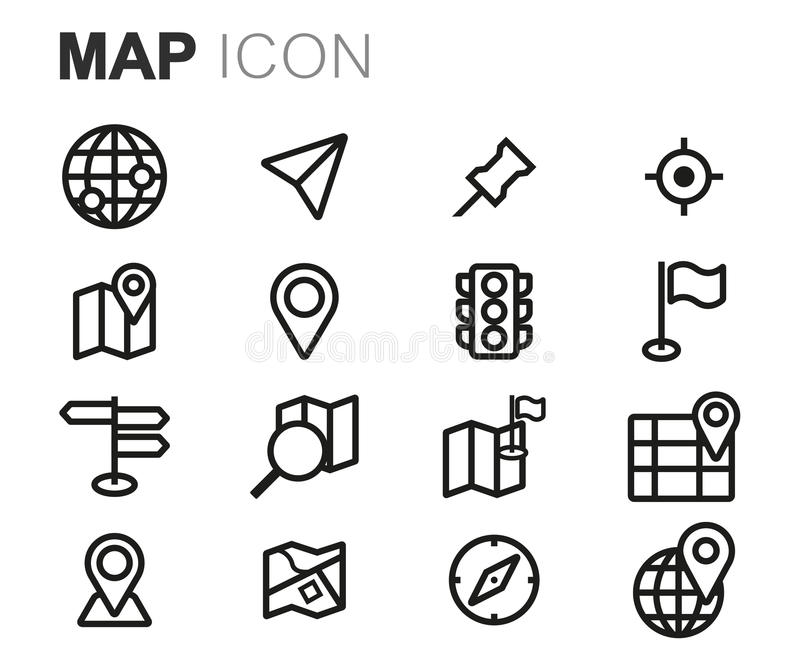 Ligne noire icônes de vecteur de carte réglées illustration stock