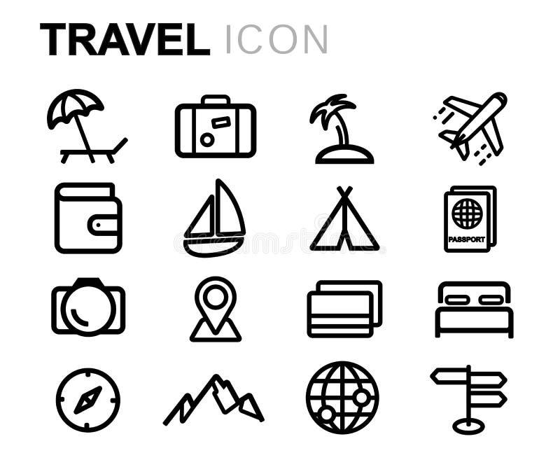 Ligne noire icônes de vecteur de voyage réglées illustration de vecteur