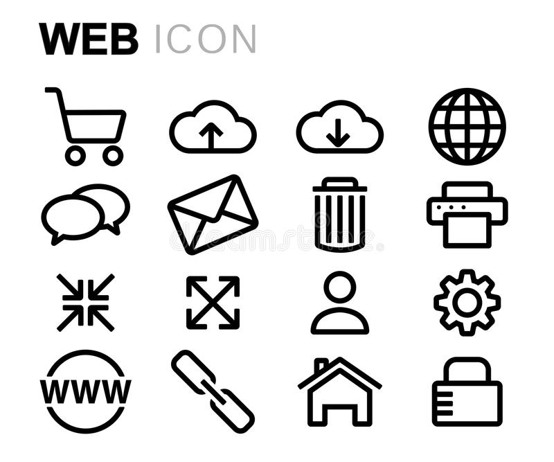 Ligne noire icônes de vecteur de Web réglées illustration stock