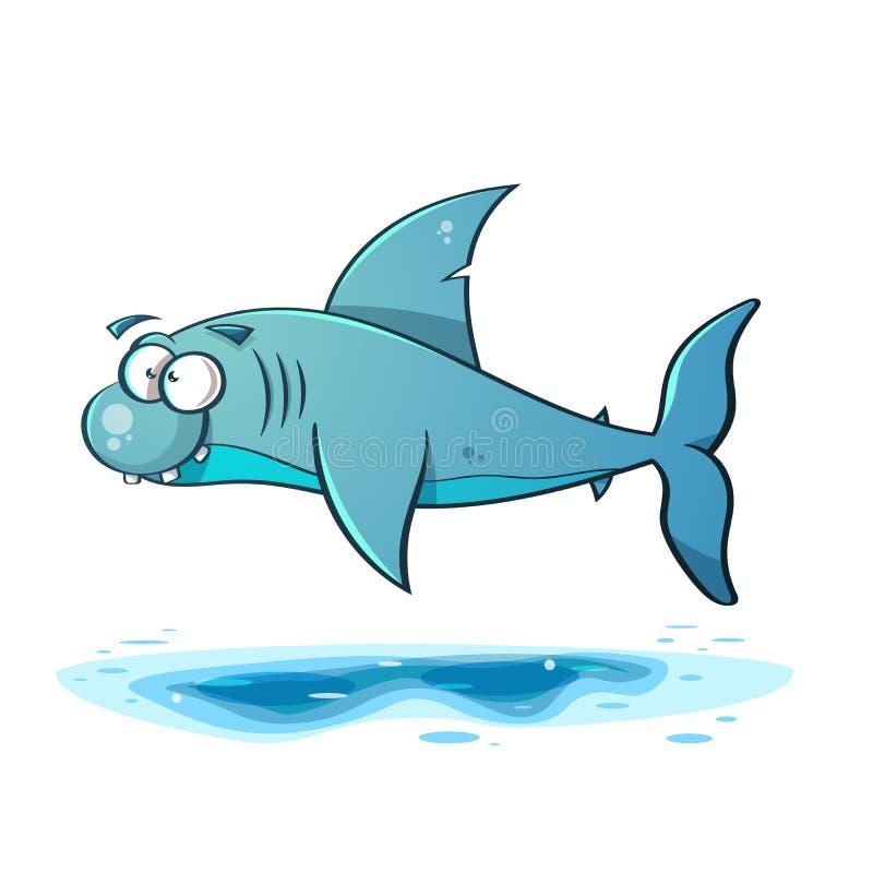 Ligne noire illustration de requin de bande dessinée illustration libre de droits