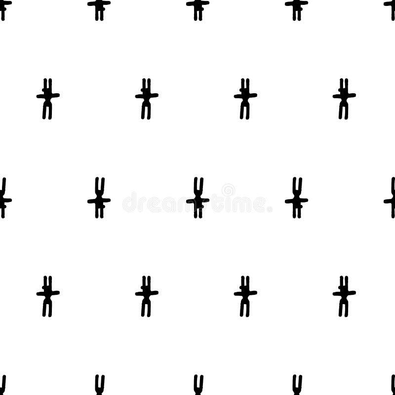 Ligne noire modèle sans couture de lapin étrange illustration libre de droits