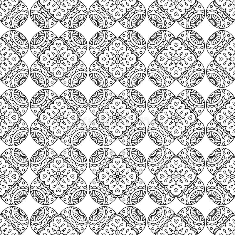 Ligne noire modèle sans couture de mosaïque géométrique indienne illustration stock