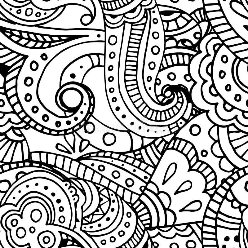 Ligne noire modèle sans couture de mosaïque géométrique indienne illustration de vecteur