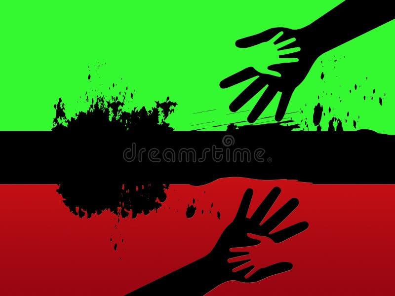 Ligne noire moyens de fond tenant des mains et des relations illustration de vecteur