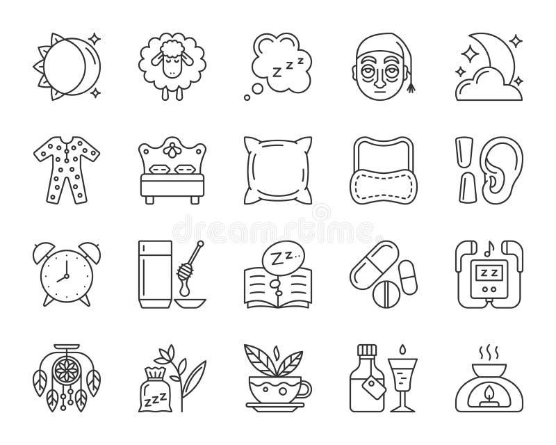 Ligne noire simple ensemble d'insomnie de vecteur d'icônes illustration de vecteur