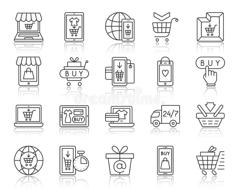 Ligne noire simple ensemble de boutique en ligne de vecteur d'icônes illustration stock