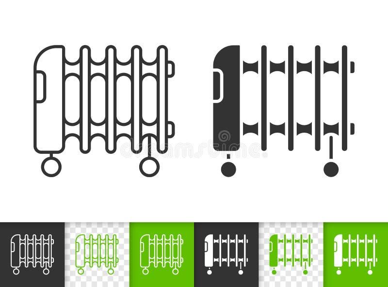 Ligne noire simple icône d'appareil de chauffage d'huile de vecteur illustration stock