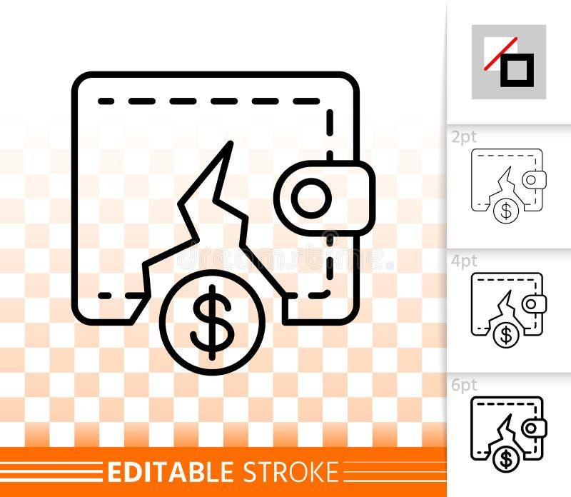 Ligne noire simple icône de bourse vide de vecteur illustration libre de droits
