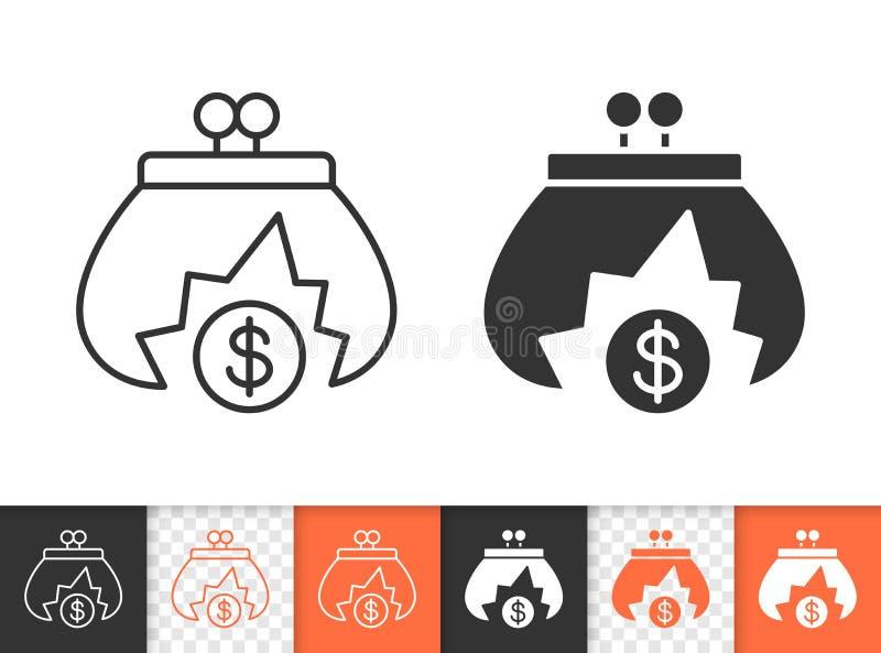 Ligne noire simple icône de bourse vide de vecteur illustration de vecteur