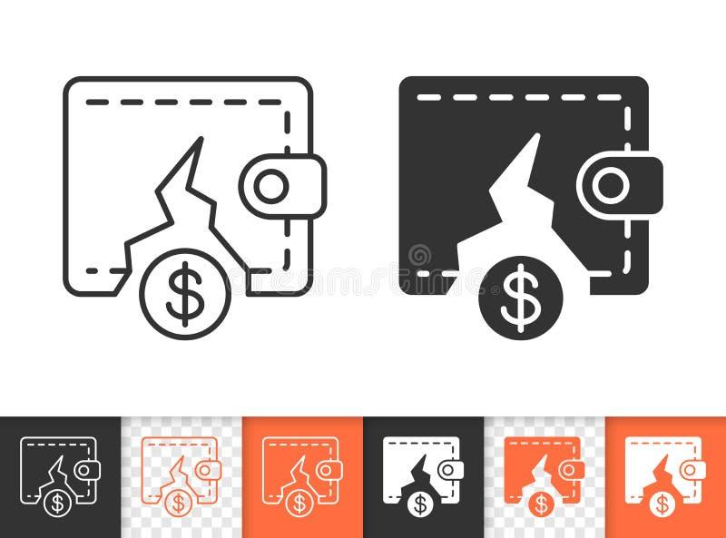 Ligne noire simple icône de bourse vide de vecteur illustration stock